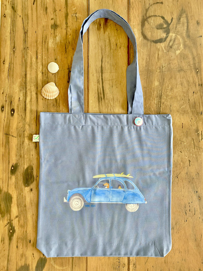 Earthpositive Tote Bag Surf Road Trip With The Citroen 2cv Nadine Roder Illustration